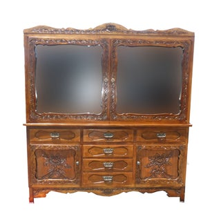 Spanish Style Ornately Carved Hutch China Cabinet Mission Arts