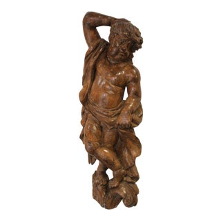 18th Cent. Carved & Waxed Pine Carving of Putto