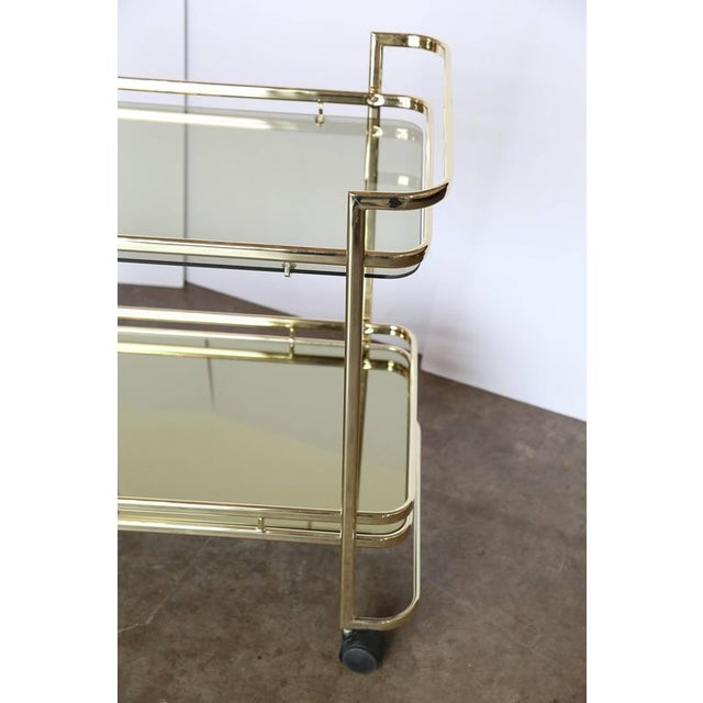 Gold Metal, Glass and Mirror Two-Tier Bar, Tea Cart or Serving Cart - Image 5 of 8