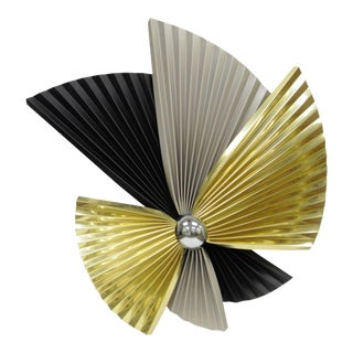 Vintage Curtis Jere Mid-Century Modern Tri-Color Fan Metal Wall Sculpture