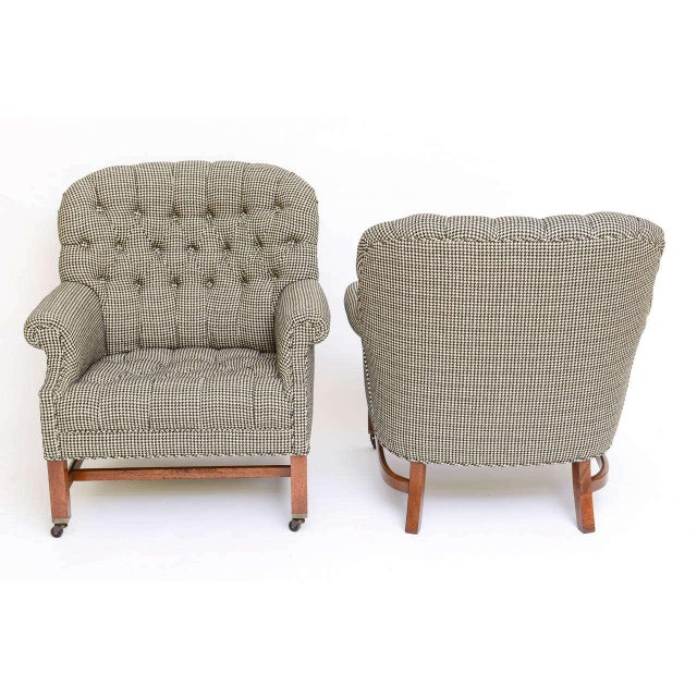 Beefy Edwardian Style Button Tufted Club Chairs in Houndstooth - Image 6 of 11