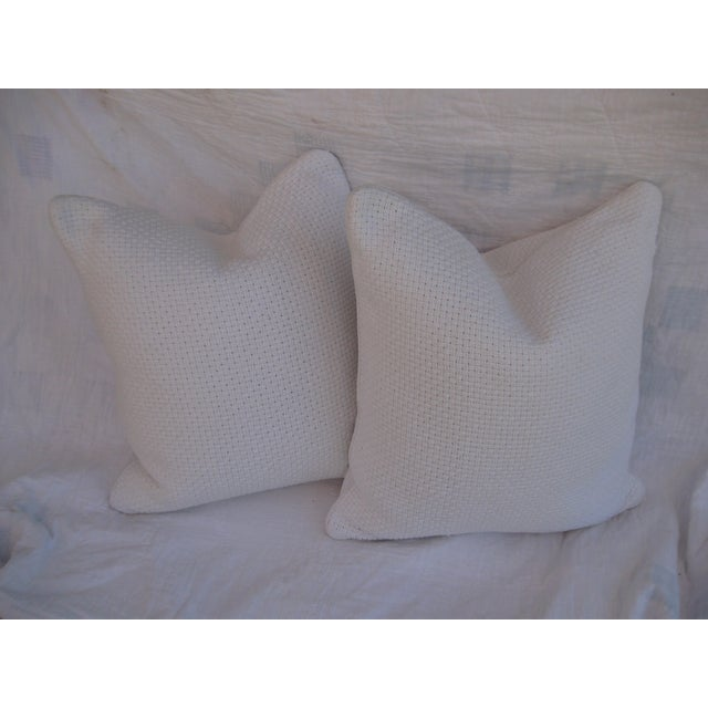 Image of White Basketweave Pillows - A Pair