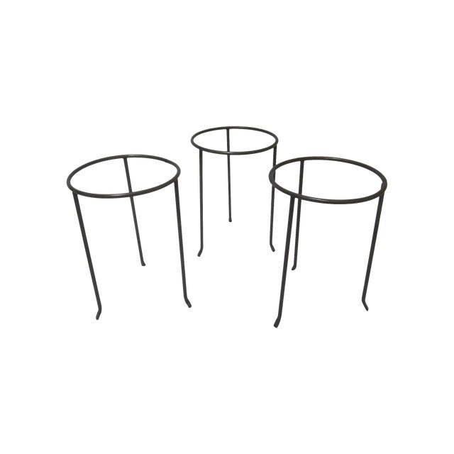 Modernist Wrought Iron Plant Stands - Set of 3 - Image 1 of 10