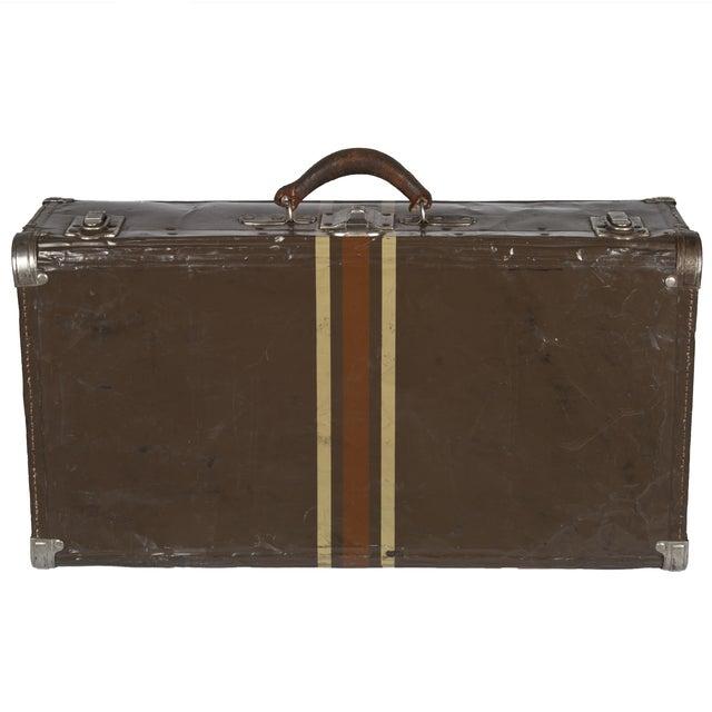 Vintage Dark Brown Striped Tin Suitcase - Image 5 of 5