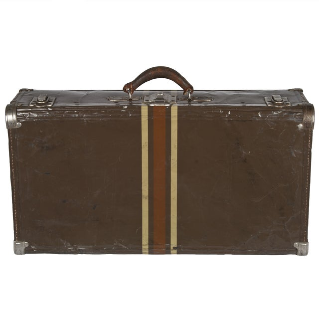 Image of Vintage Dark Brown Striped Tin Suitcase