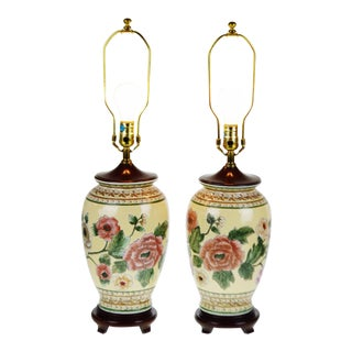Chinese Ceramic Ginger Jar Table Lamps - A PAir