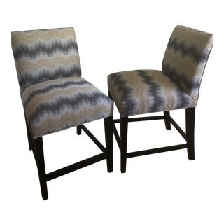 Ethan Allen Custom Upholstered Counter Chairs - A Pair