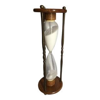Vintage Mid-Century Brass & Wood Hourglass Sand Timer