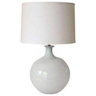Vintage White Glass Vase as Custom Table Lamp
