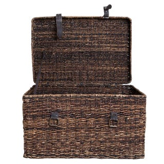 Designer Braided Wicker Trunk with Leather Straps