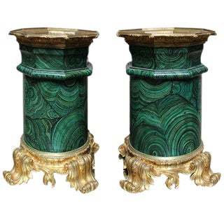 A Pair of Faux Malachite Bases with Bronze Mounts