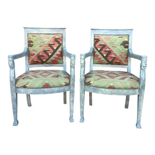 Egyptian Revival Turkish Kilim Upholstery Arm Chairs - A Pair