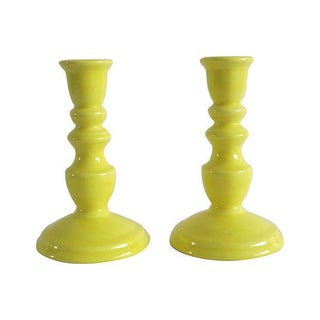 Vintage 1960s Yellow Ceramic Candlesticks - A Pair