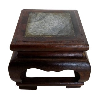 Hand Carved Chinese Marble and Hard Wood Stand