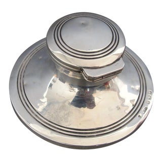 1908 Solid Silver Capstan Inkwell From England