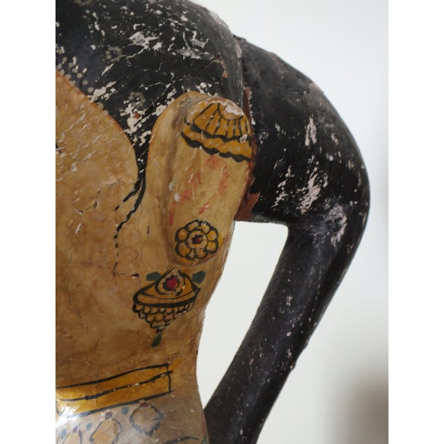 """41"""" Tall Antique Asian Indian Carved Wood Statue - Image 9 of 11"""