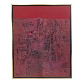 Pink & Red Brutalist Abstract Mid Century Painting