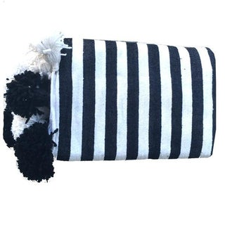 Black and White Moroccan Throw With Tassels