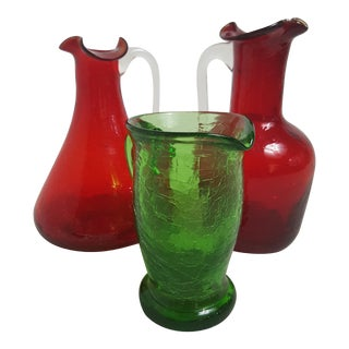 Three Crystal Crackle Glass Pitchers