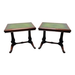 Vintage Mahogany w/ Green Leather Tops Trestle Base Lamp Tables
