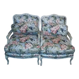 Carved Wood Floral Pattern Bergere Chairs - A Pair