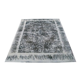 Distressed Black Overdyed Persian Rug- 12′9″ × 9′6″