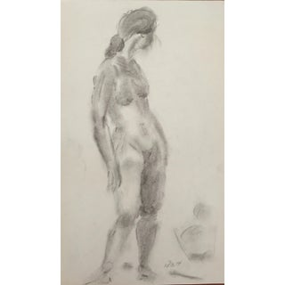 Frank J. Bette 1970s Charcoal Female Nude Drawing