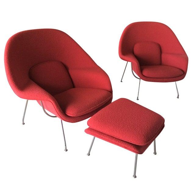 Knoll Saarinen Womb Chairs Ottoman In Crimson Chairish