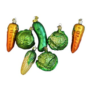 1980s Vegetable Christmas Ornaments - Set of 7