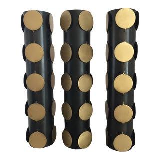 Black Gold Medallion Adorned Cylindrical Vases- Set of 3