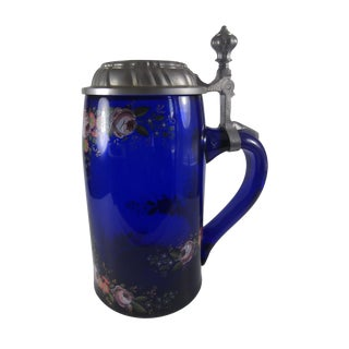 German Cobalt Glass Beer Stein