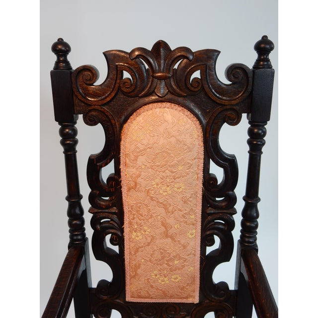 Antique Intricately Carved Oak Throne Chair - Image 9 of 10