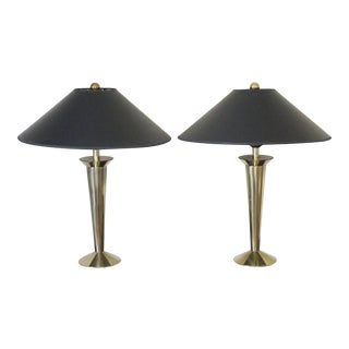 Stiffel Northbrook Solid Brass Table Lamps with Shades - A Pair