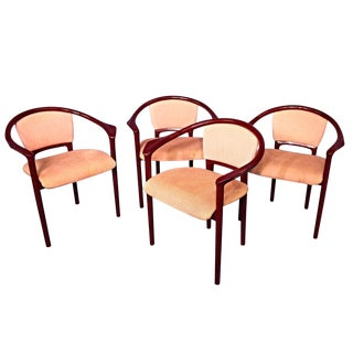 Italian Red Lacquer Dining Chairs - Set of 4