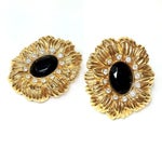 Image of Kenneth Jay Lane Black & Gold Earrings