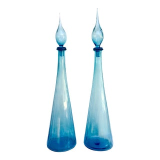 Mid Century Modern Blue Decanters - a Pair