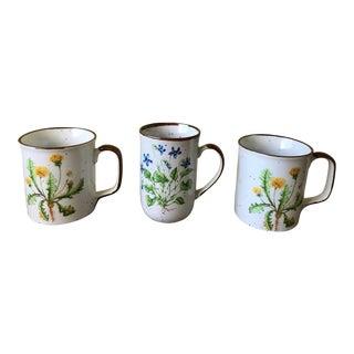 Vintage Japanese Botanical Mugs - Set of 3