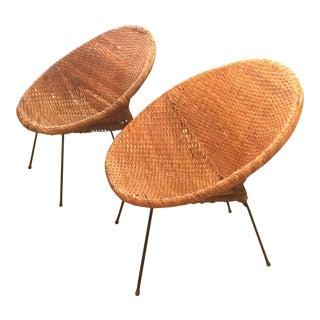 Mid-Century Rattan Wicker Hoop Chairs - Pair