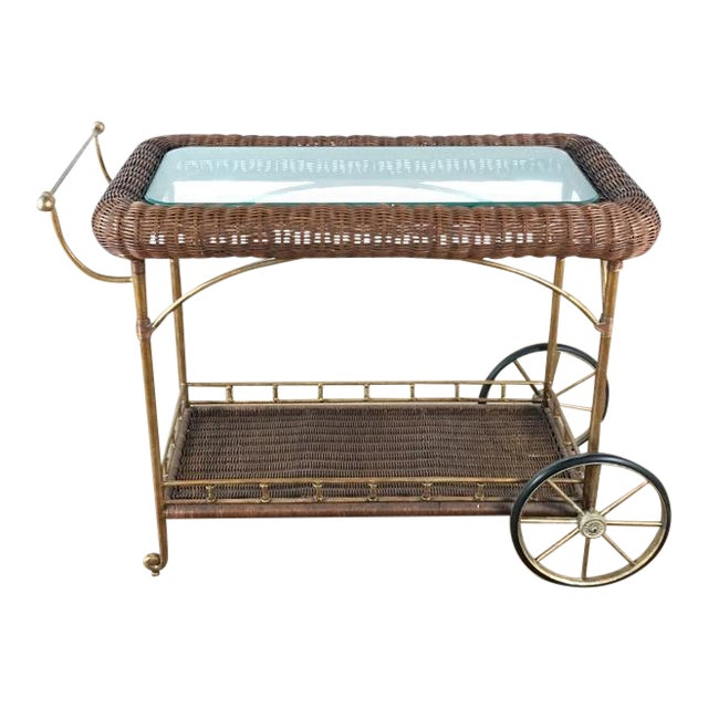 Vintage Wicker Wrapped Bar Cart - Image 1 of 7