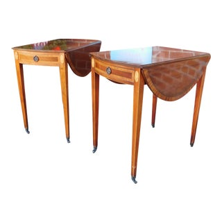 1950s Charak Furniture Banded & Inlaid Federal Pembroke Drop-Leaf Tables - A Pair