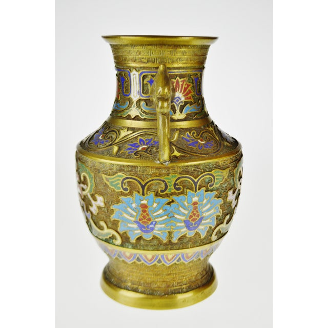 Vintage Japanese Brass Champleve Urn Shaped Vase with Figural Handles - Image 4 of 11