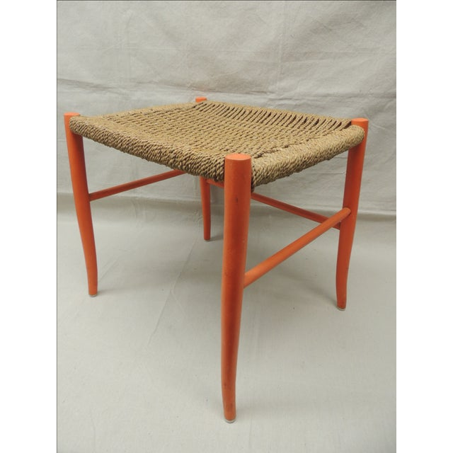Mid Century Modern Orange Bench With Rush Seat - Image 2 of 4