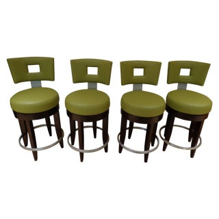 David Edward Barstools With Faux Leather Seats - 4