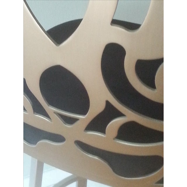 Carved Brushed Nickel Barstools - A Pair - Image 8 of 9
