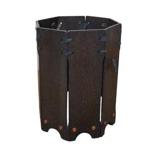 Antique Mission Oak Waste Basket