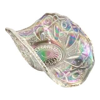"Irridized Cut Glass Bowl. Depression Glass ""U"" Bowl"