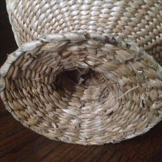 Vintage Natural Straw Pedestal Bowl - Image 9 of 11