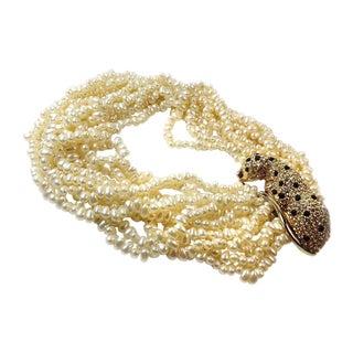KJL Faux-Pearl Necklace w/ Leopard Clasp