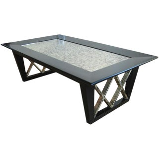 Black Satin X Frame Cocktail Table with Eglomise Mirrored Top