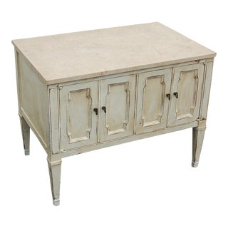 Shabby Chic End-Table With Marble Top, 1970's